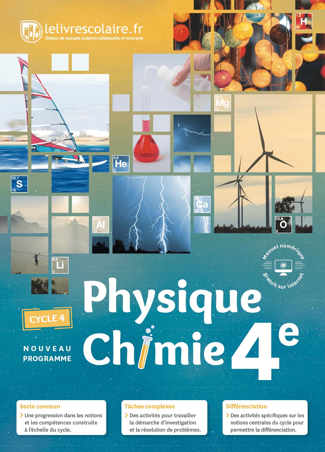 Couverture du manuel scolaire : Physique-Chimie 4e