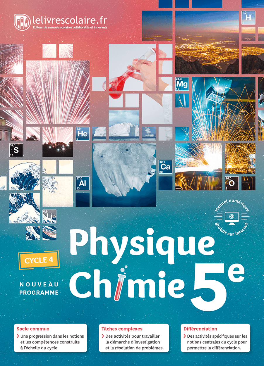 Couverture du manuel scolaire : Physique-Chimie 5e