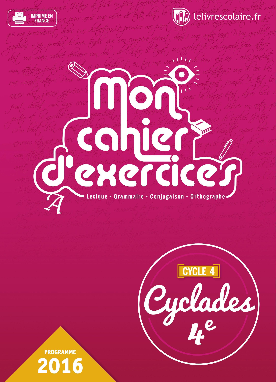 Couverture du manuel scolaire : Français 4e - Cahier d'exercices