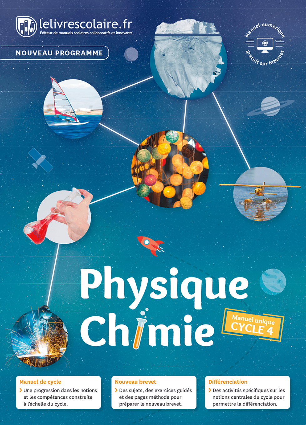 Couverture du manuel scolaire : Physique-Chimie Cycle 4