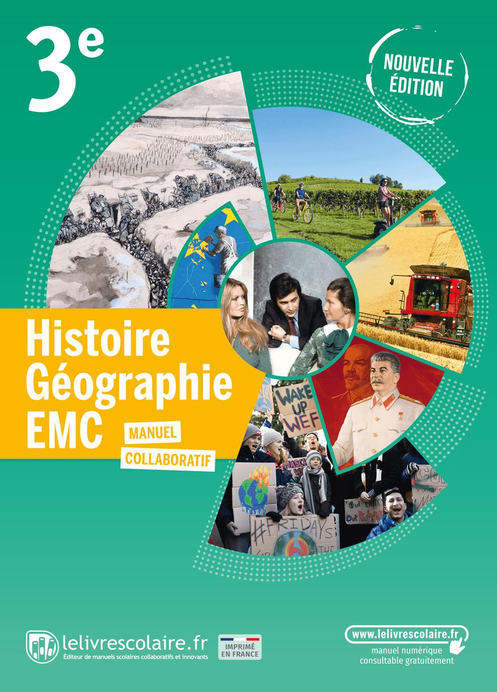 Couverture du manuel scolaire : Histoire-Géographie-EMC 3e