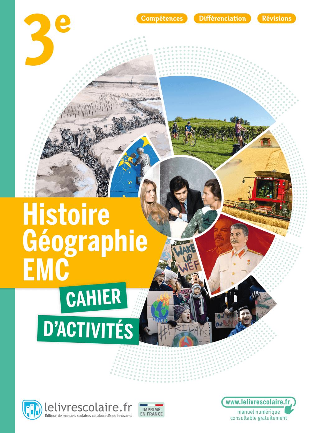 Couverture du manuel scolaire : Histoire-Géographie-EMC 3e - Cahier d'activités