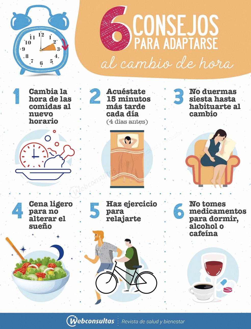 Cartel de consejos para adaptarse al Cambio horario, Webconsultas, 2019