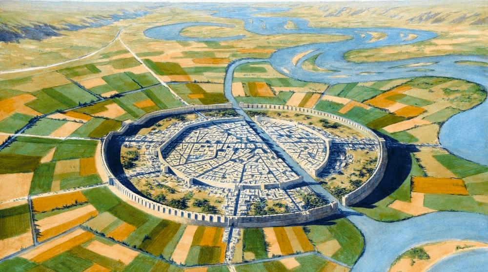 Reconstitution de Mari, l'une des premières cités-États, à la fin du IIIe millénaire av. J.-C., illustration de Balage Balogh