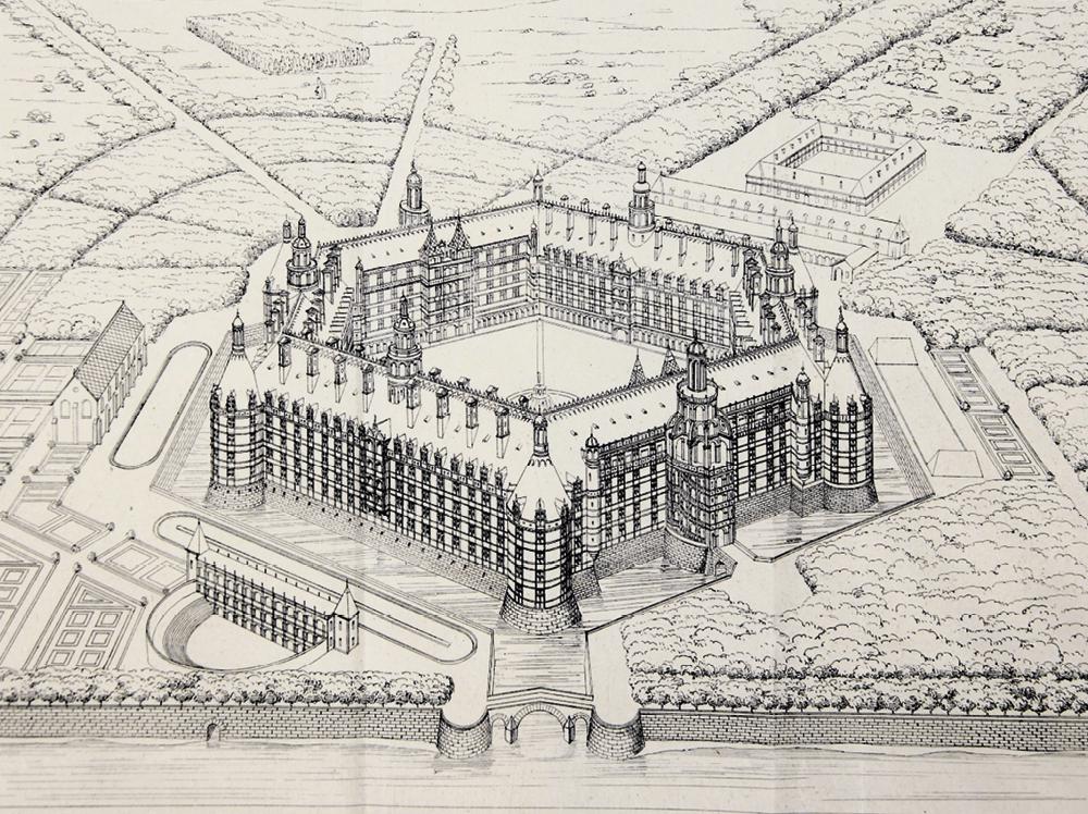 Restitution de l'abbaye de Thélème, dessin de Charles Lenormant, 1840