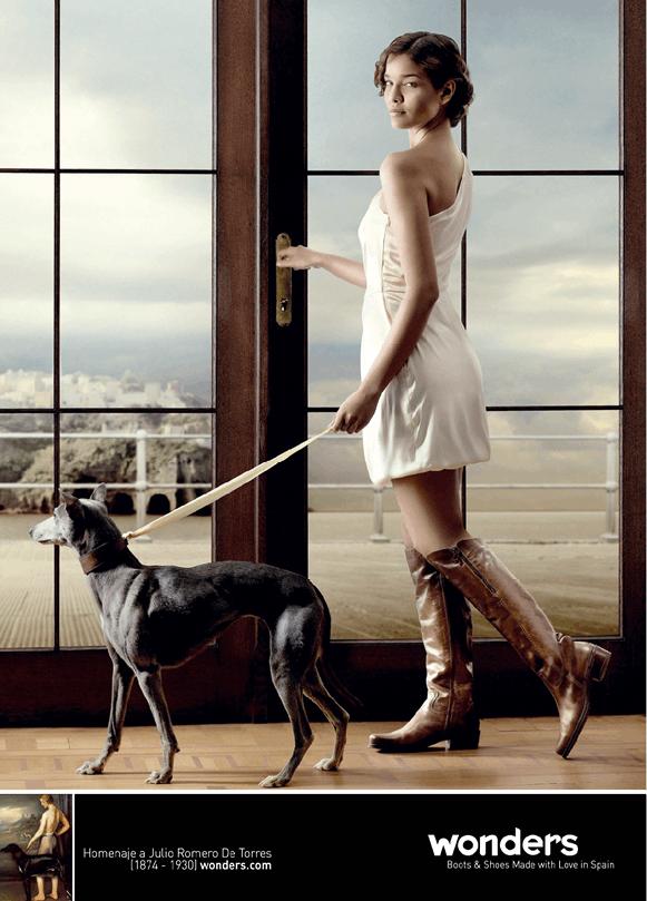 Publicidad de Wonders (2010) para una marca de zapatos, inspirada del cuadro Diana de Julio Romero de Torres, 1924