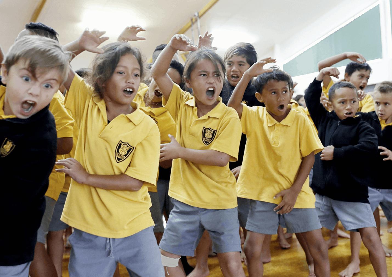 Students learn the Haka
