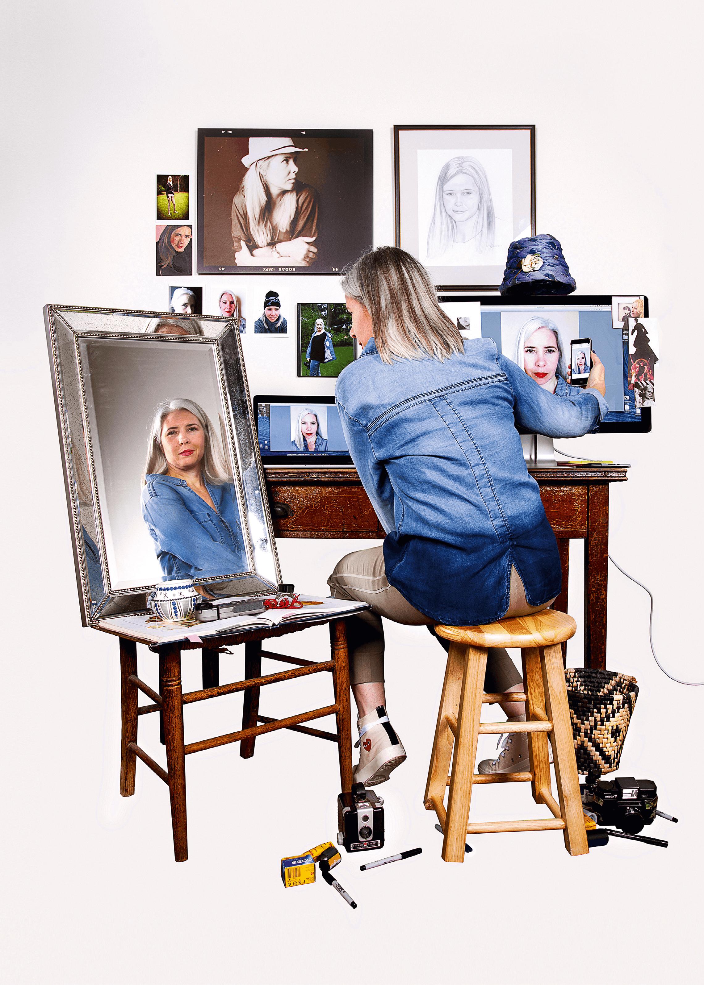 Triple autoportrait (adaptation de Norman Rockwell), photographie de Maggie Meiners