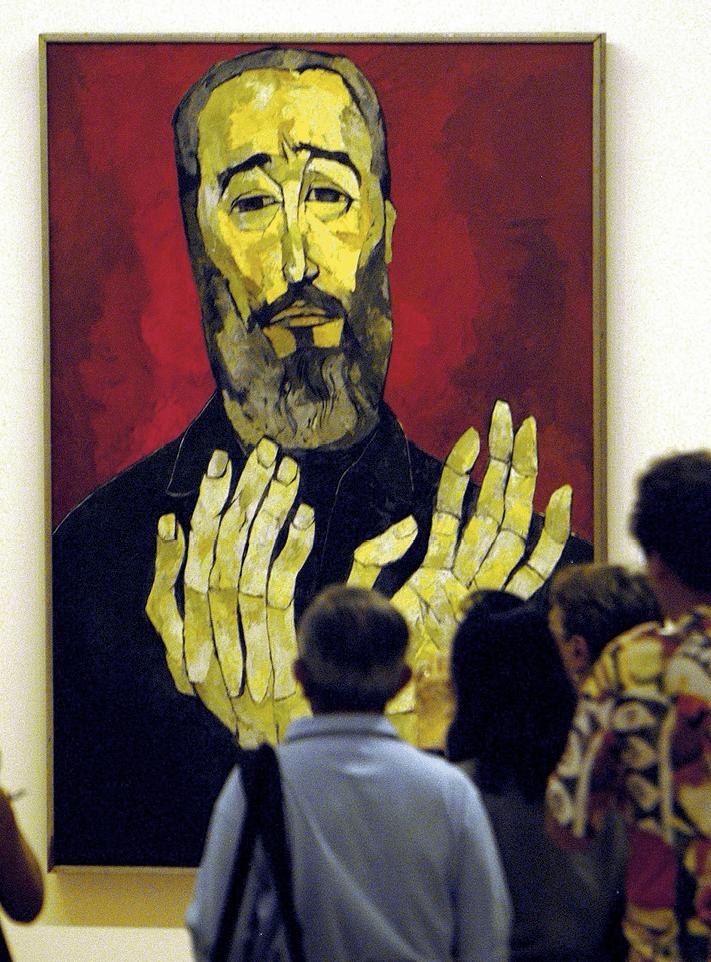 Inauguración de la exposición del pintor ecuatoriano Oswaldo Guayasamin en el Museo de Bellas Artes de La Habana, 2006.
