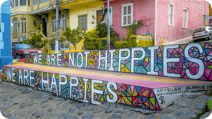 Street art We are not hippies we are happies
