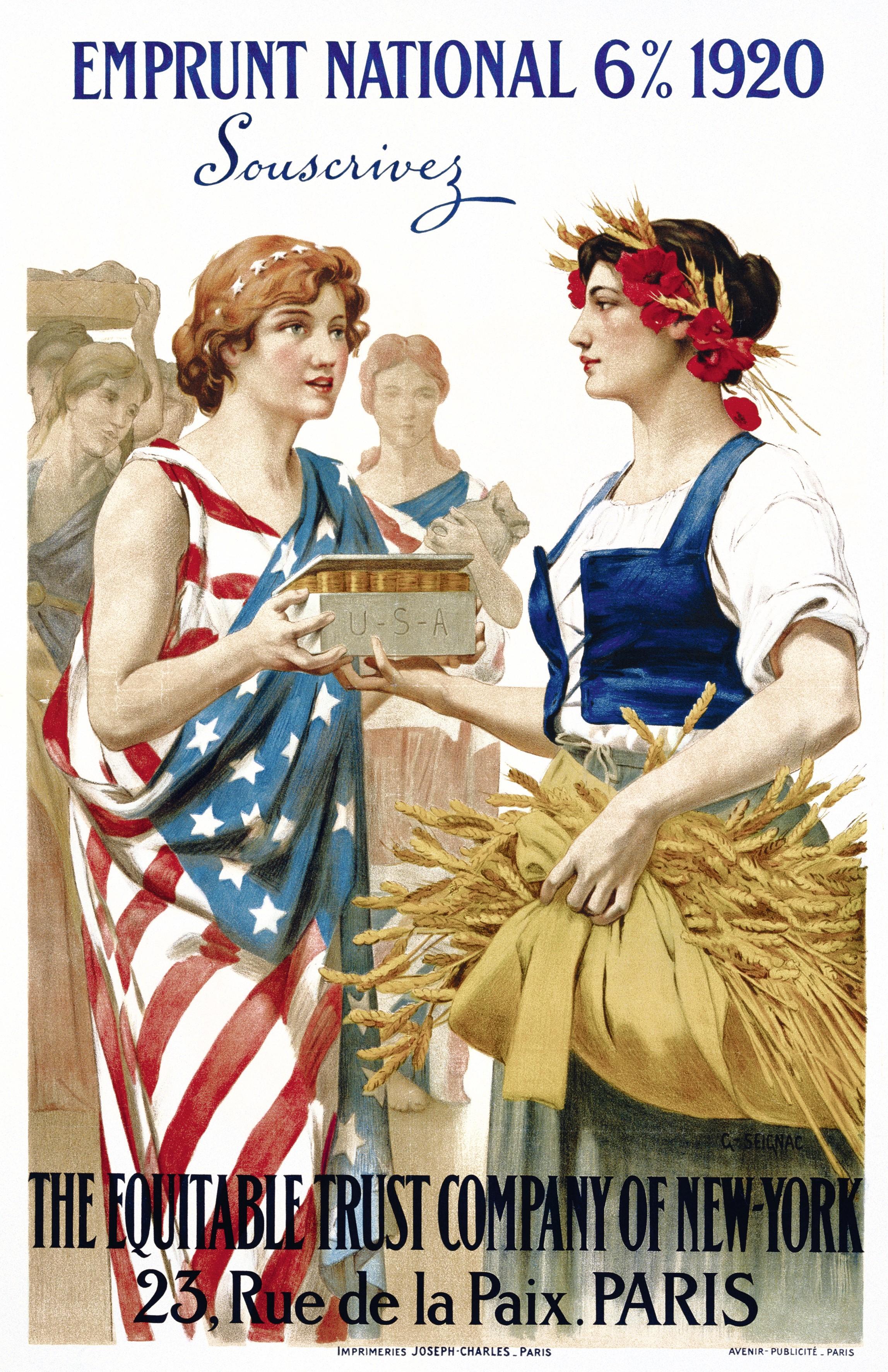Guillaume Seignac, 1920, affiche : Les États-Unis prêtent à l'Europe