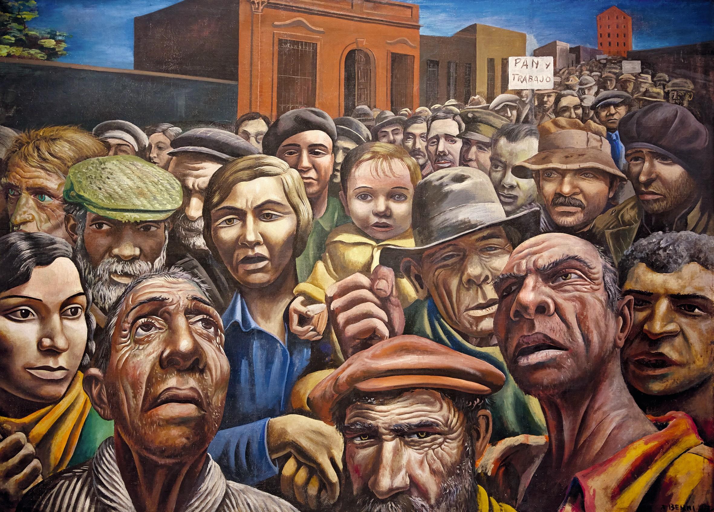 Antonio Berni, Manifestación, 1934, détrempe sur toile, 128 × 247,5 cm, Museo de Arte Latinoamericano, Buenos Aires.