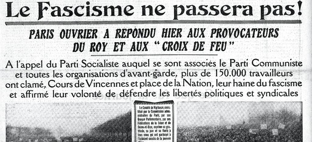 Une du Populaire au lendemain des manifestations ouvrières du 12 février 1934.
