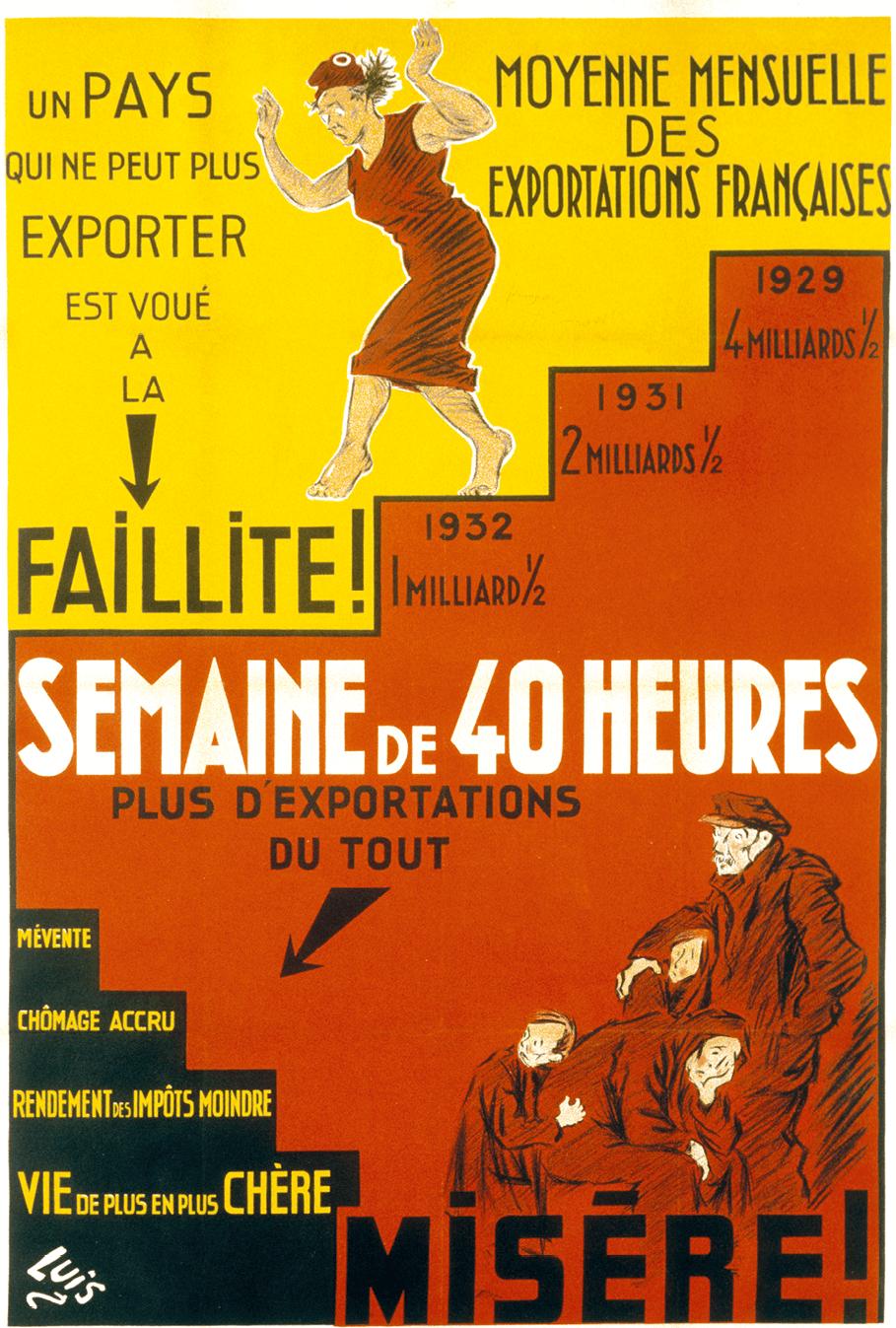 Luis, Un Pays qui ne peut plus exporter est voué à la faillite, 1936, lithographie en couleurs, bibliothèque Forney, Paris.