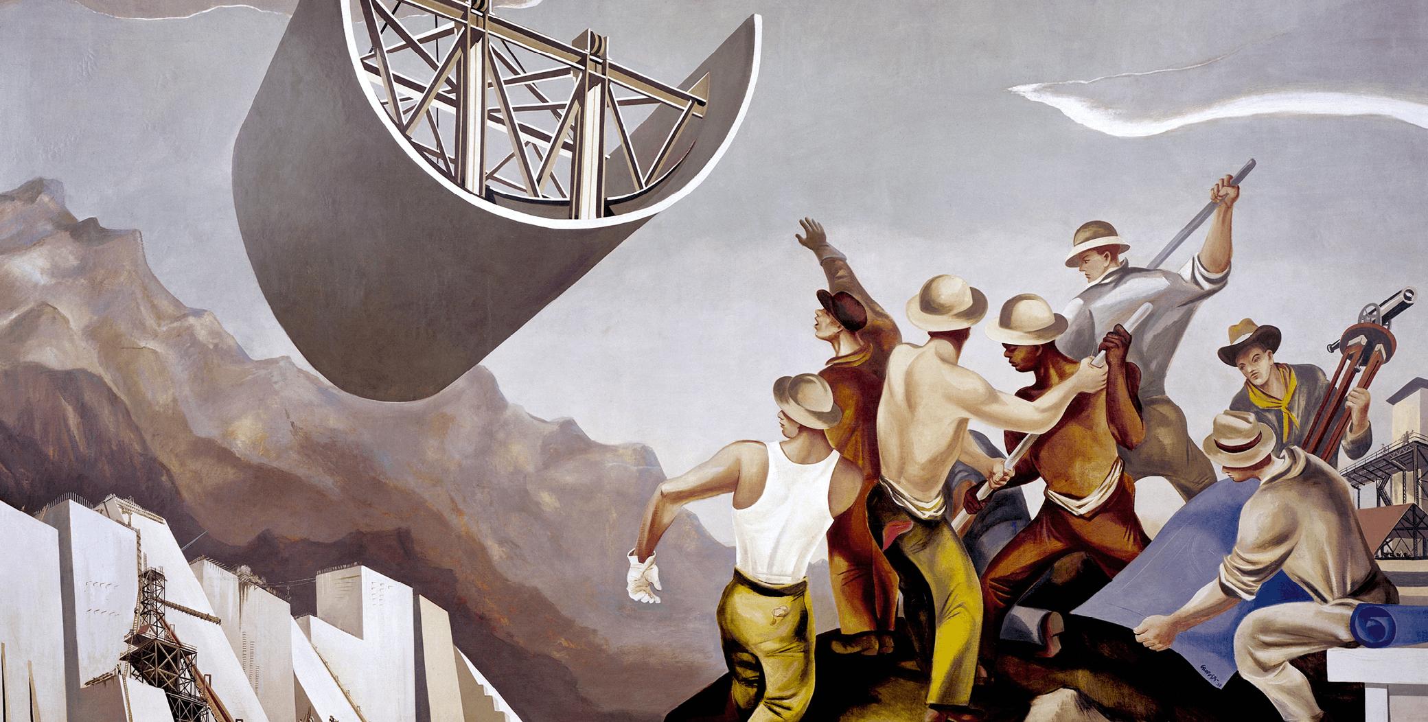 William Gropper, Construction d'un barrage, 1939, fresque murale