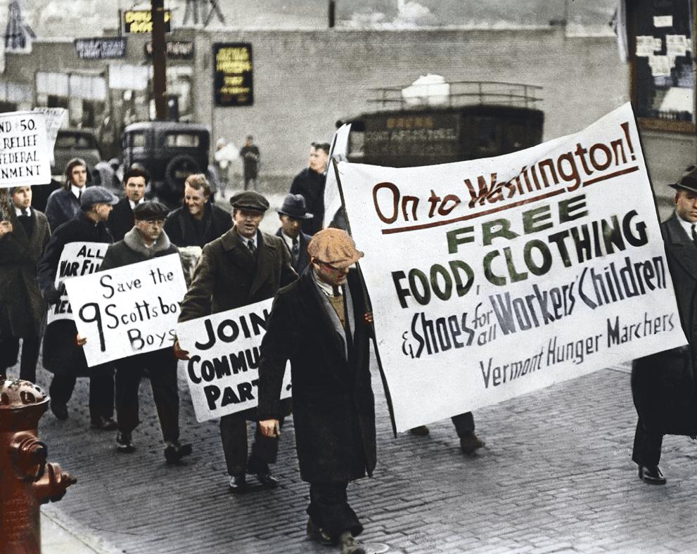 Marche de la faim de chômeurs du Vermont vers Washington en 1931, photographie anonyme
