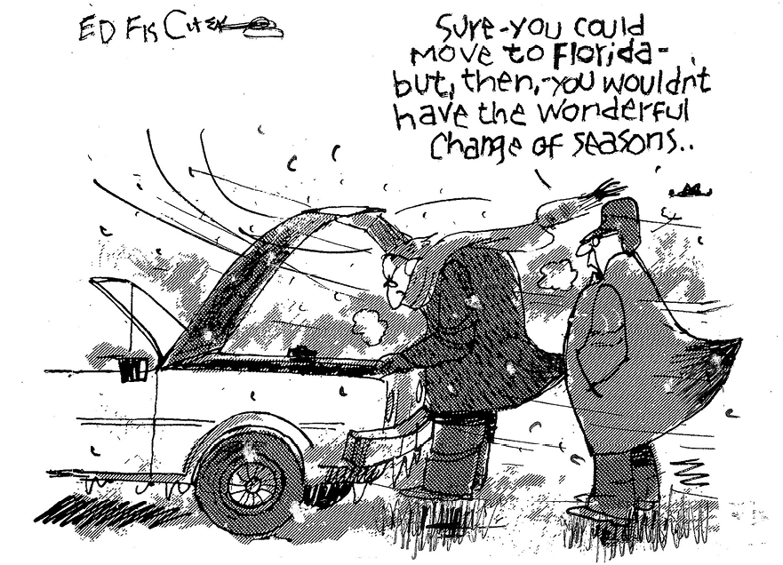 Cartoon by Ed Fisher about moving to Florida, 2017