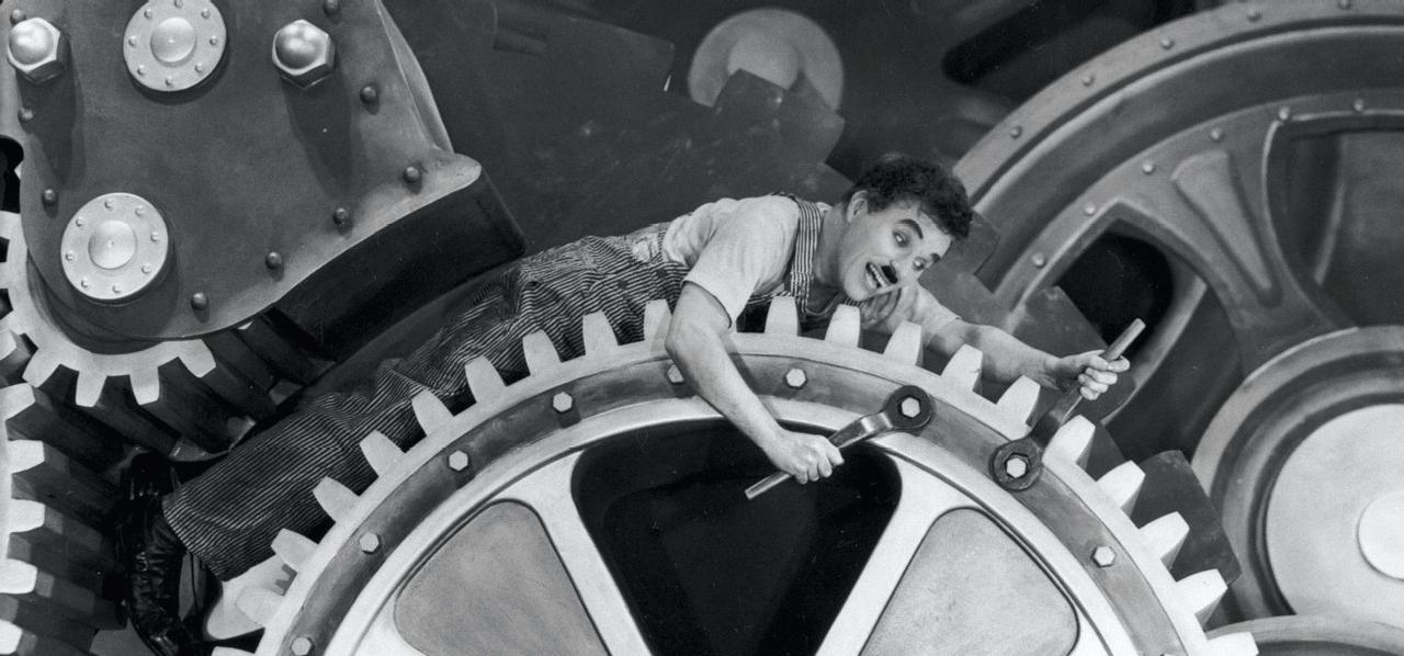 Image extraite du film Les temps modernes de Charlie Chaplin