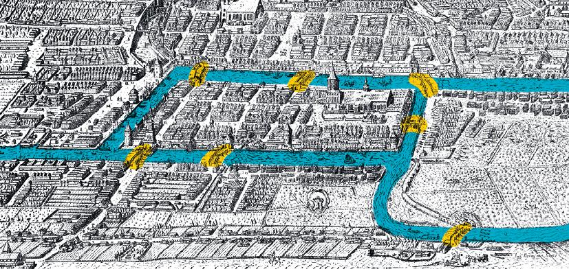 Maths Expertes - Histoire des mathématiques - Graphes et matrices - Plan de la ville de Königsberg en 1613