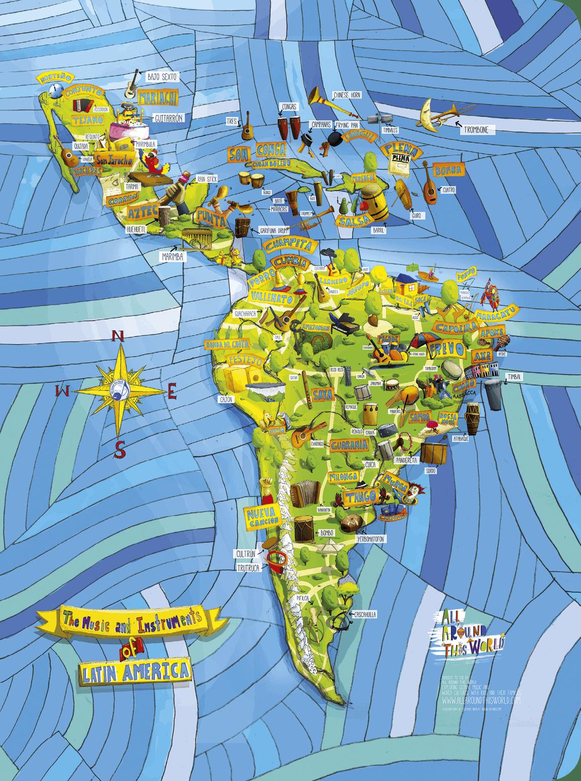 Mapa de estilos de música latinoamericanos, All Around This World, 2015.
