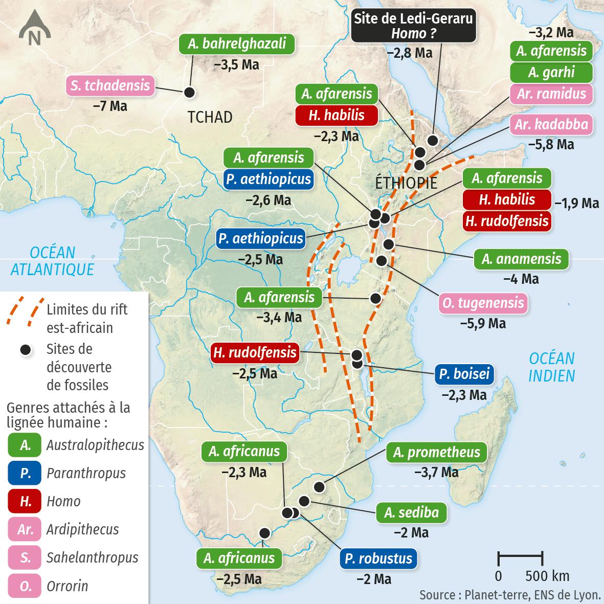 Carte des sites de découverte des fossiles