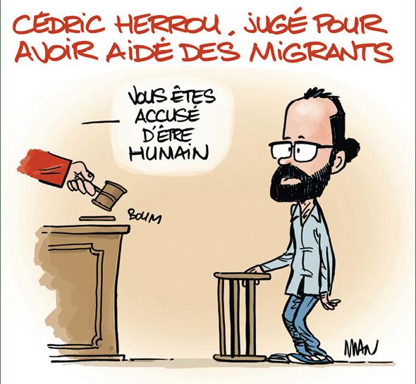 Caricature de l'illustrateur Man de Cedric Herrou jugé pour avoir aidé des migrants