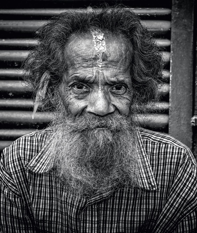 Portrait d'un sans-abri à Katmandou, 2015.