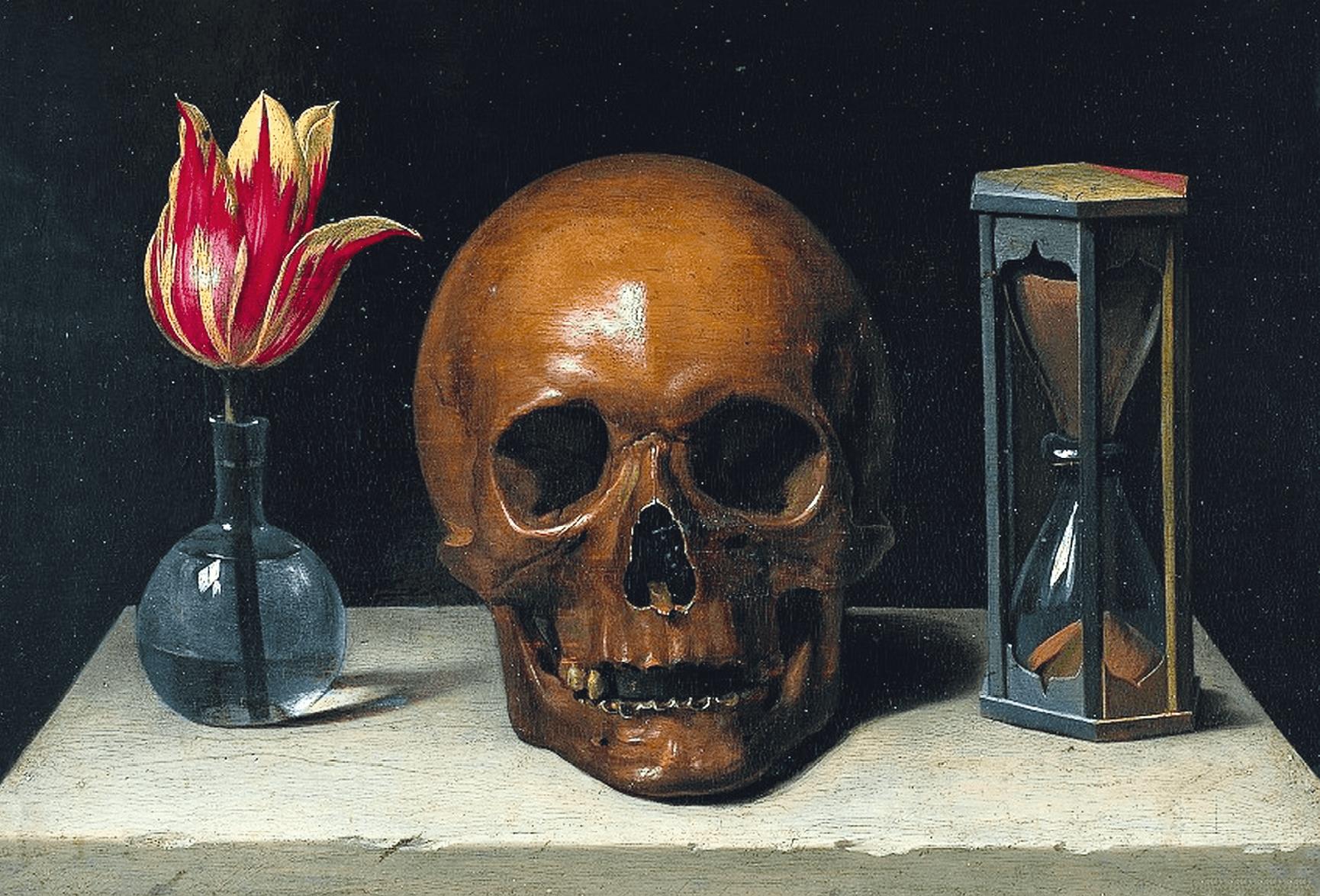 Philippe de Champaigne, Vanité, ou allégorie de la vie humaine, 1646, huile sur panneau, 28 × 37 cm (musée de Tessé).