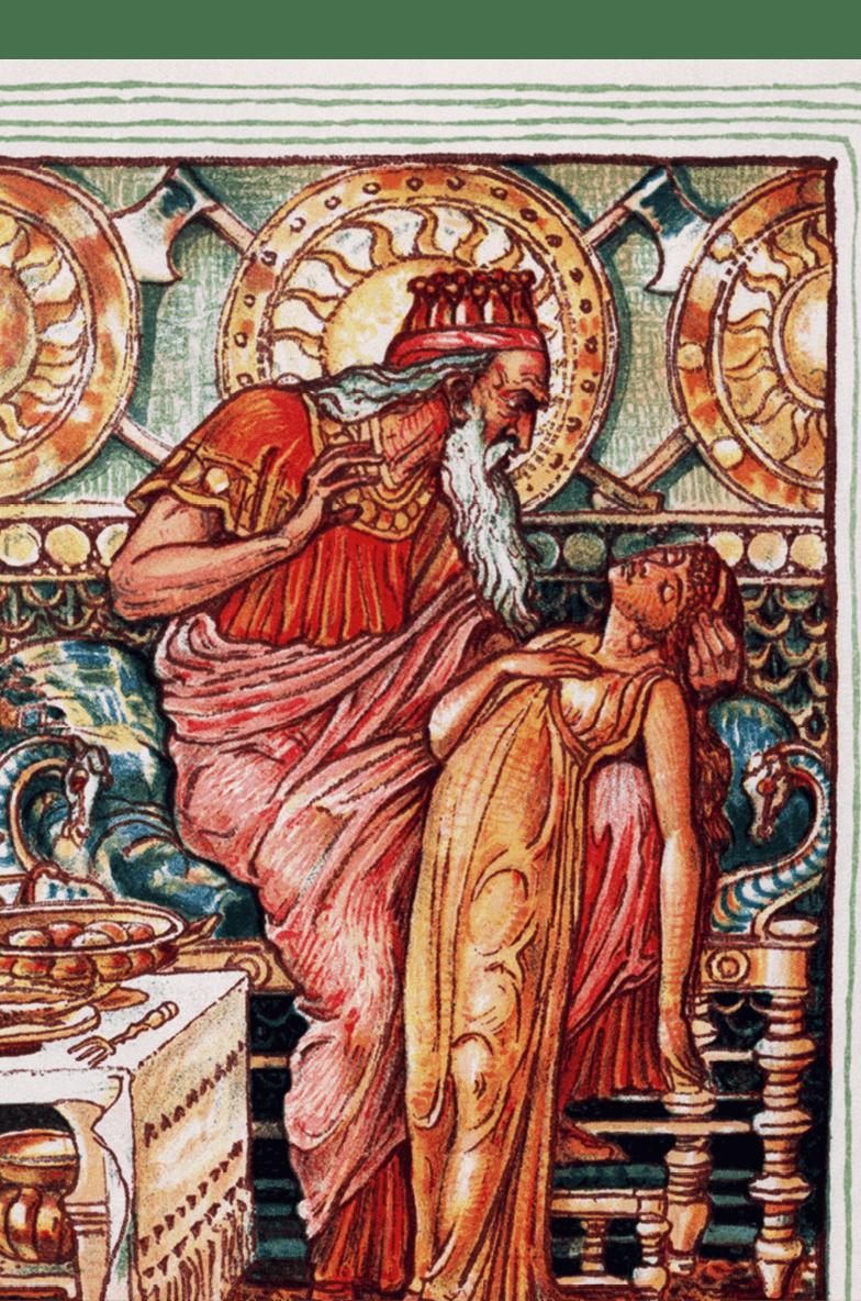 Walter Crane, Le roi Midas et sa fille, 1893, lithographie (bibliothèque du Congrès, Washington).