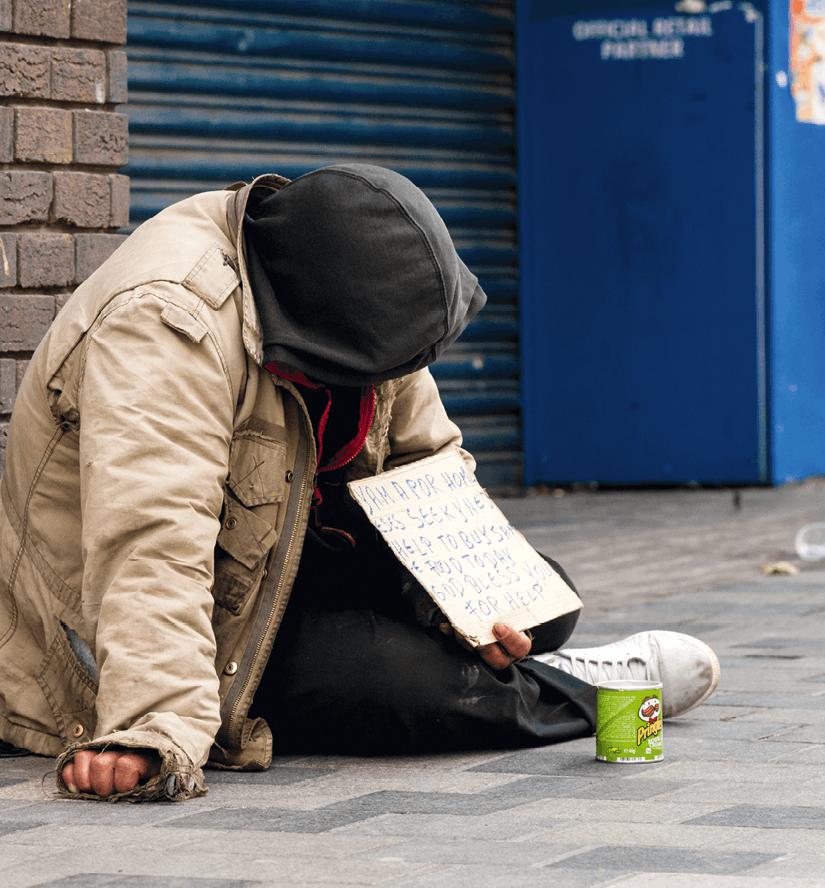 Sans-abri mendiant à Glasgow.