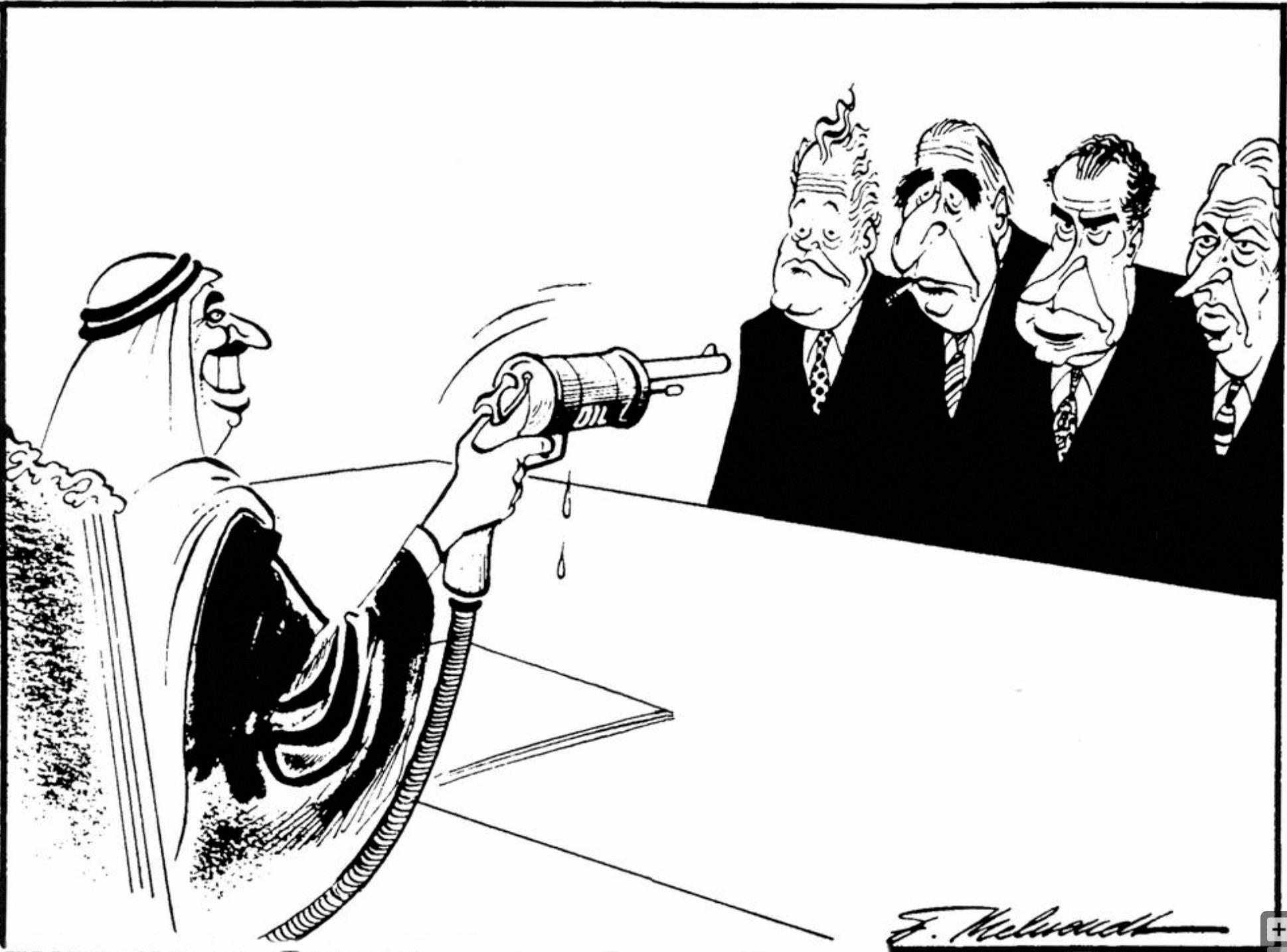 Fritz Behrendt, le roi d'Arabie Saoudite Fayçal 1er menaçant les dirigeants occidentaux, 1973, dessin de presse.