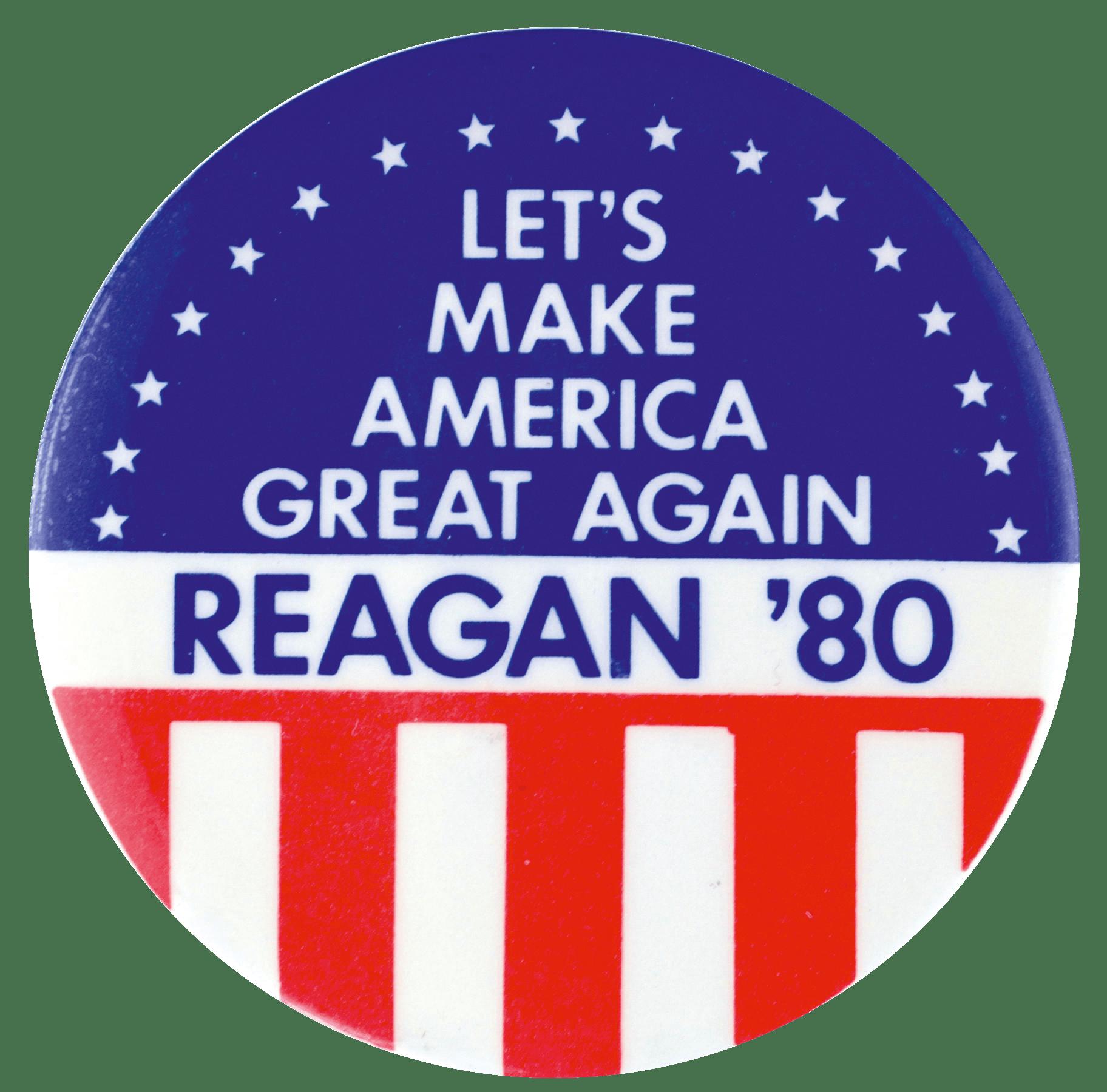Badge pour Reagan, campagne électorale de 1980.