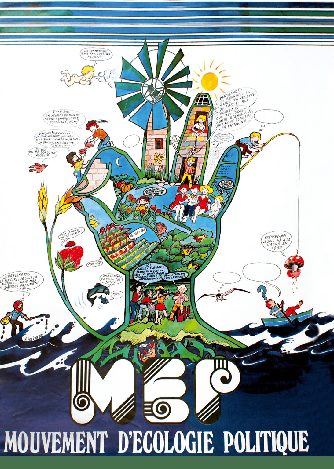 Affiche pour le Mouvement d'écologie politique qui fédère de nombreuses associations environnementales, 1979.