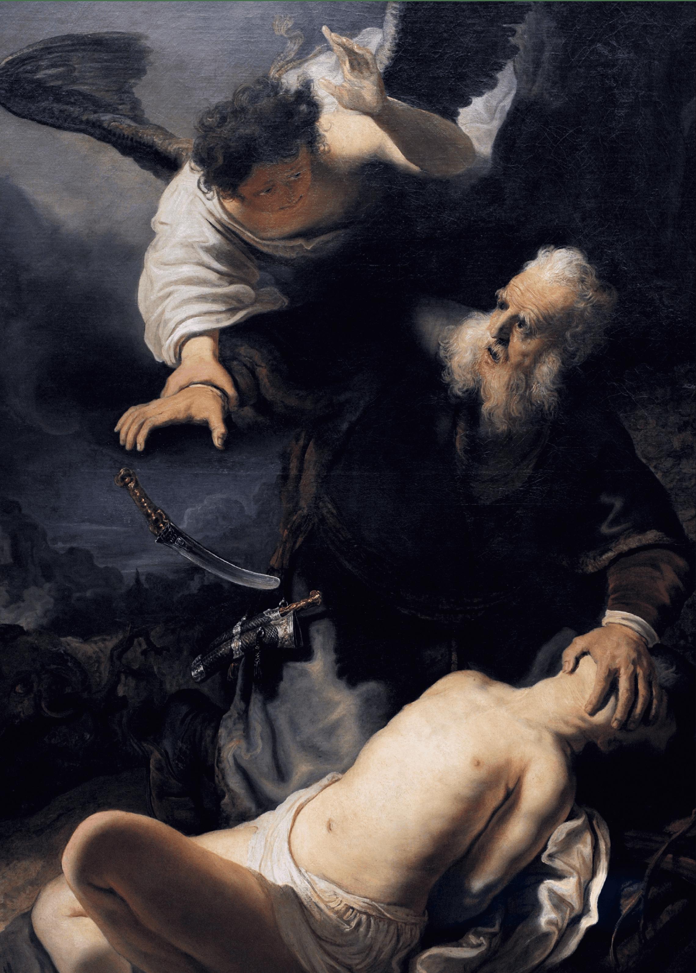 Rembrandt, Le Sacrifice d'Isaac, 1636, huile sur toile, 195 × 132,3 cm (Alte Pinakothek, Munich).