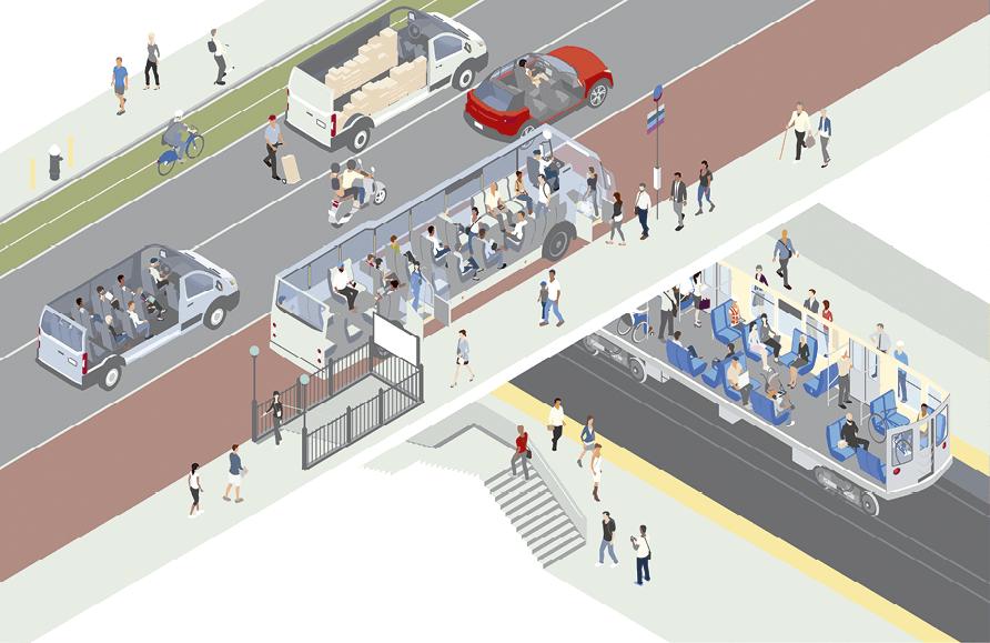 Dibujo calle y medios de transporte por dentro y por fuera