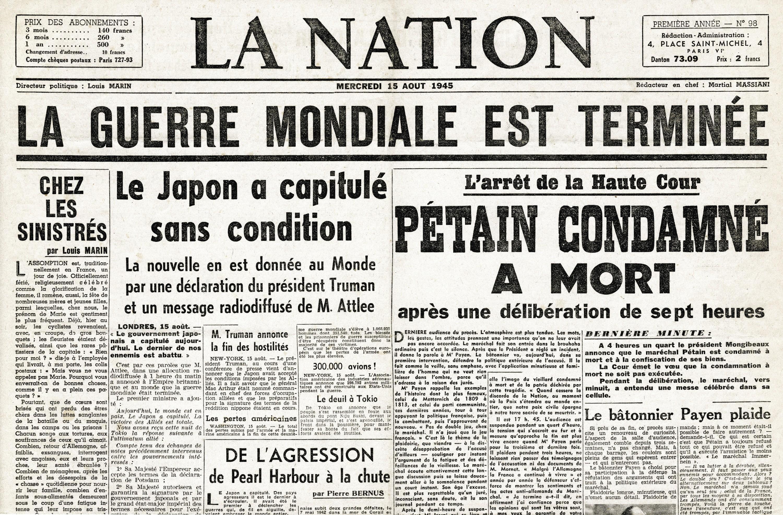 Journal La Nation Seconde Guerre mondiale terminée