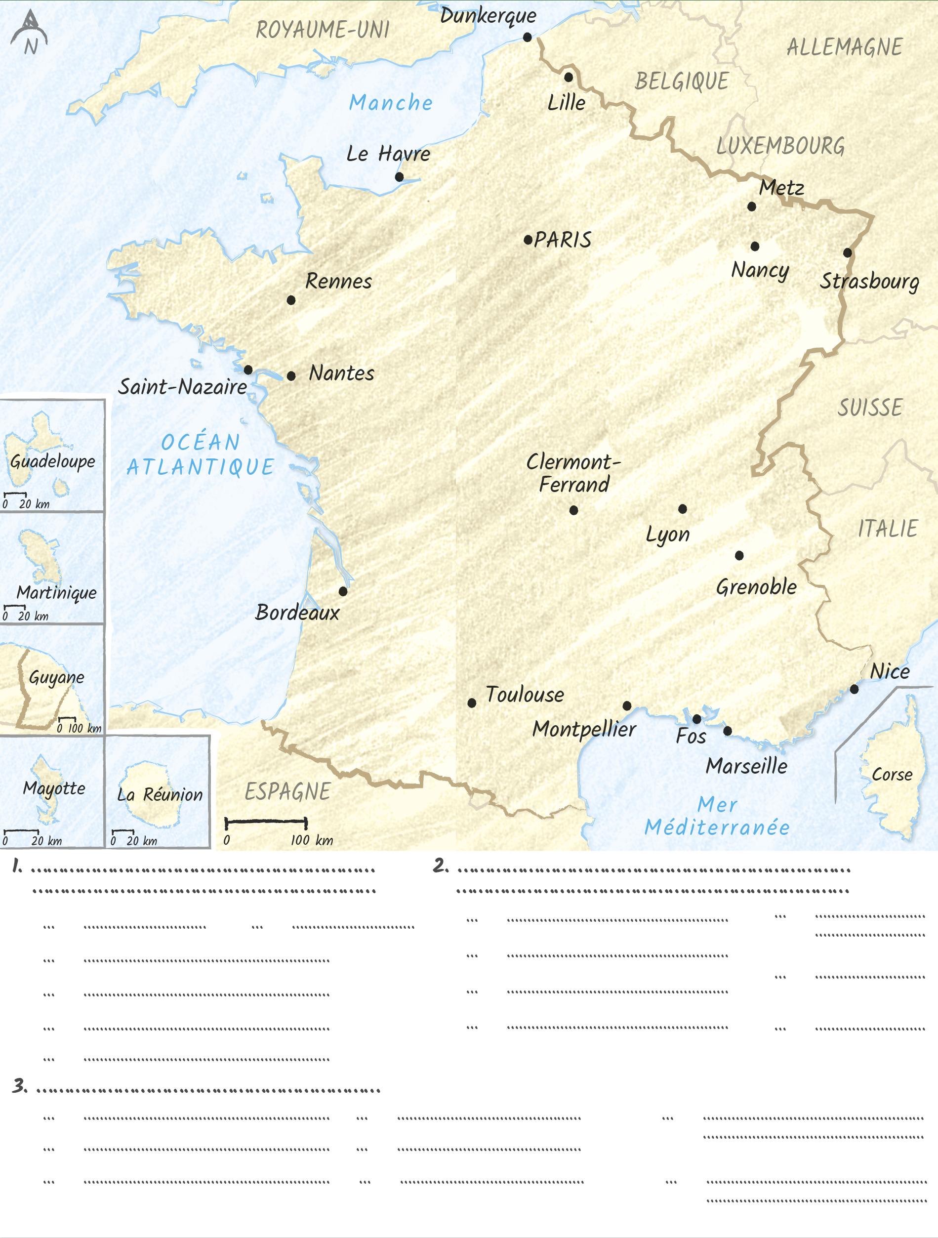 Je réalise un croquis de synthèse sur les recompositions du territoire français