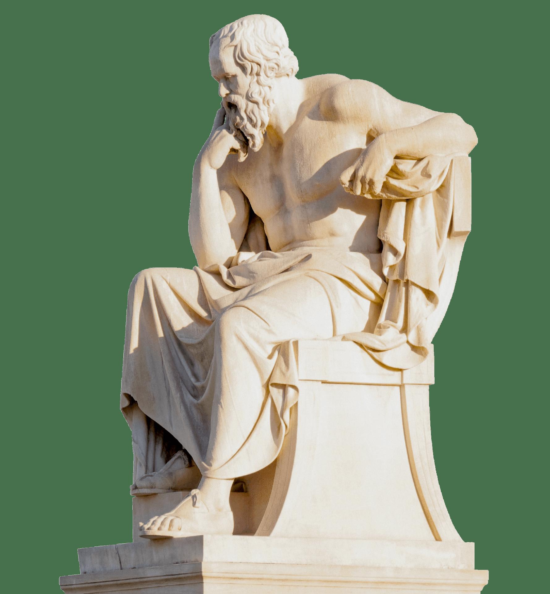 Statue de Socrate devant l'académie d'Athènes réalisée par Leonidas Drosis, 1885.
