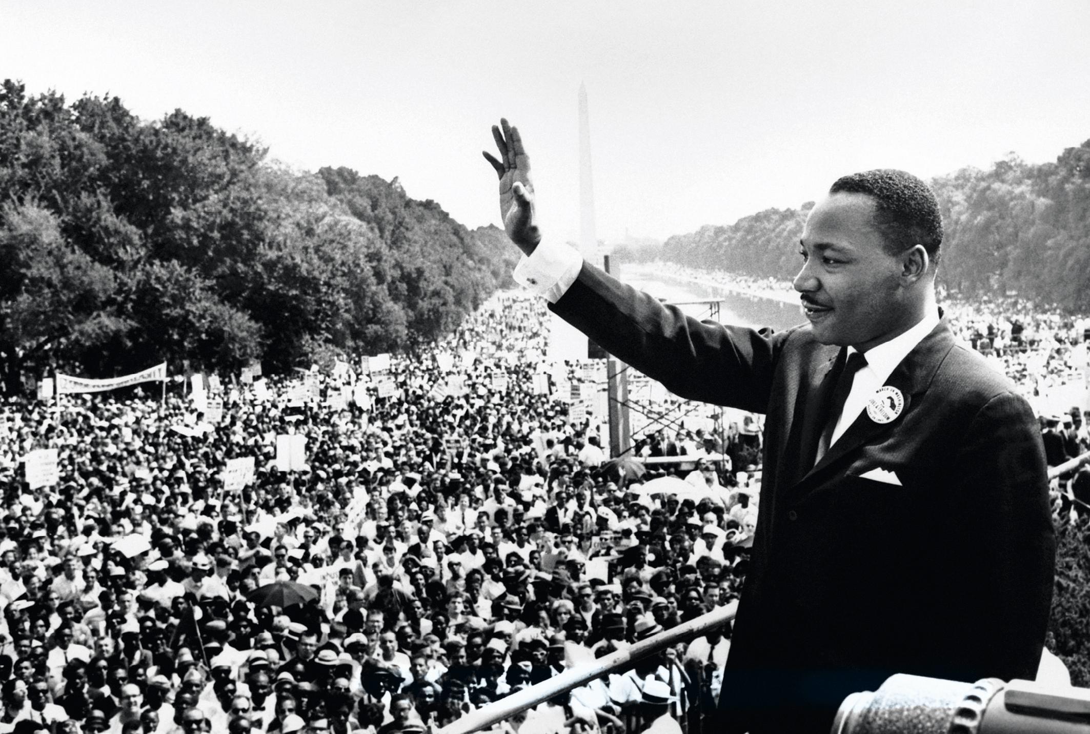 Le pasteur Martin Luther King, lors de son discours le 28 août 1963.