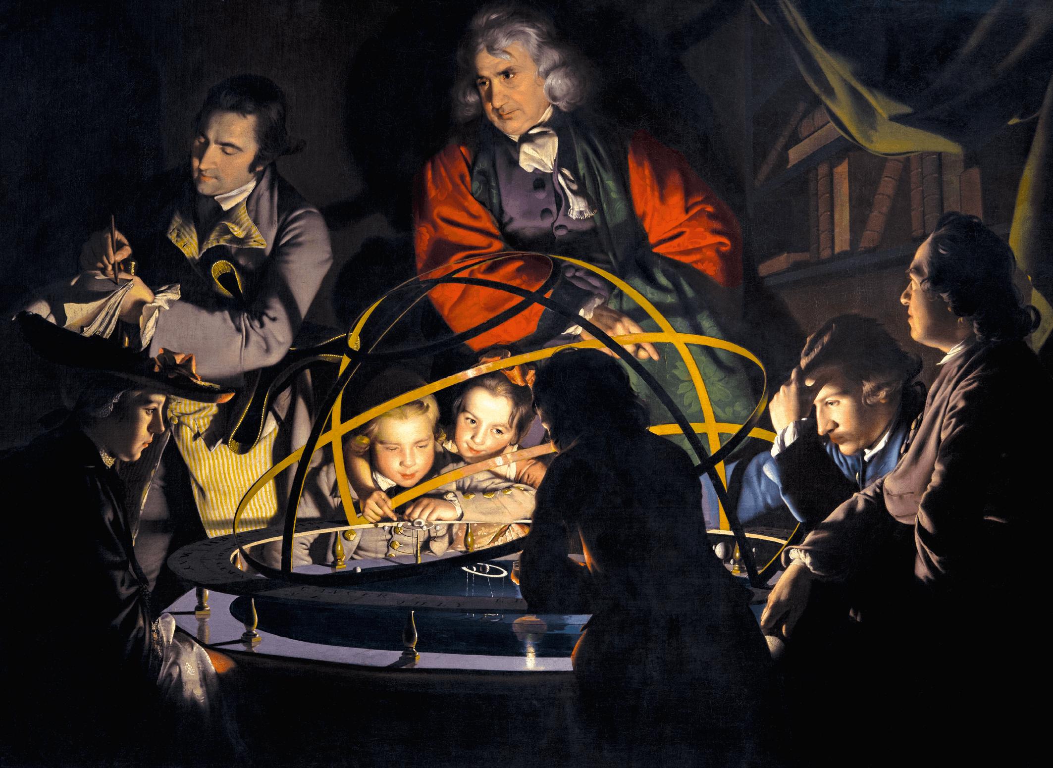 Joseph Wright, Philosophe faisant un exposé sur le planétaire, 1766, huile sur toile, 147 × 203 cm (Derby Museum and Art Gallery).