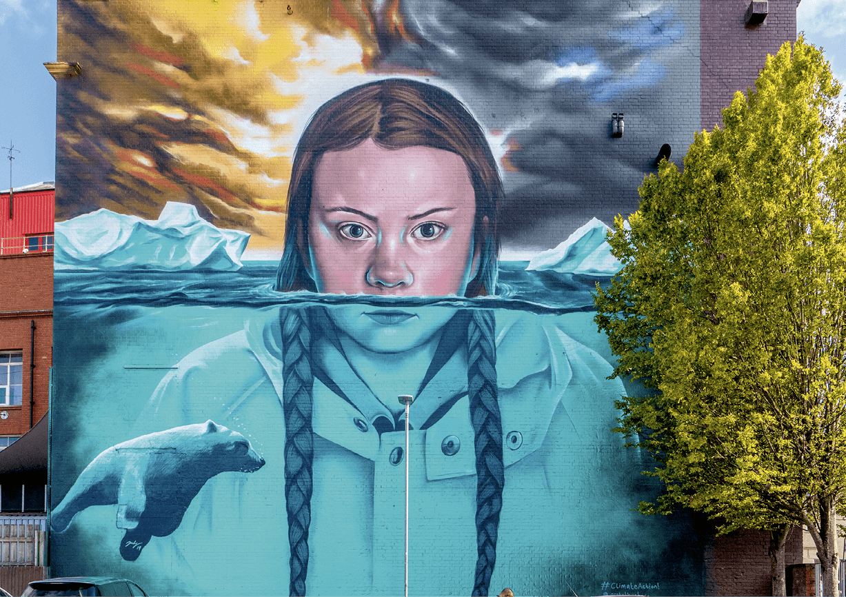 Mural of Greta Thunberg