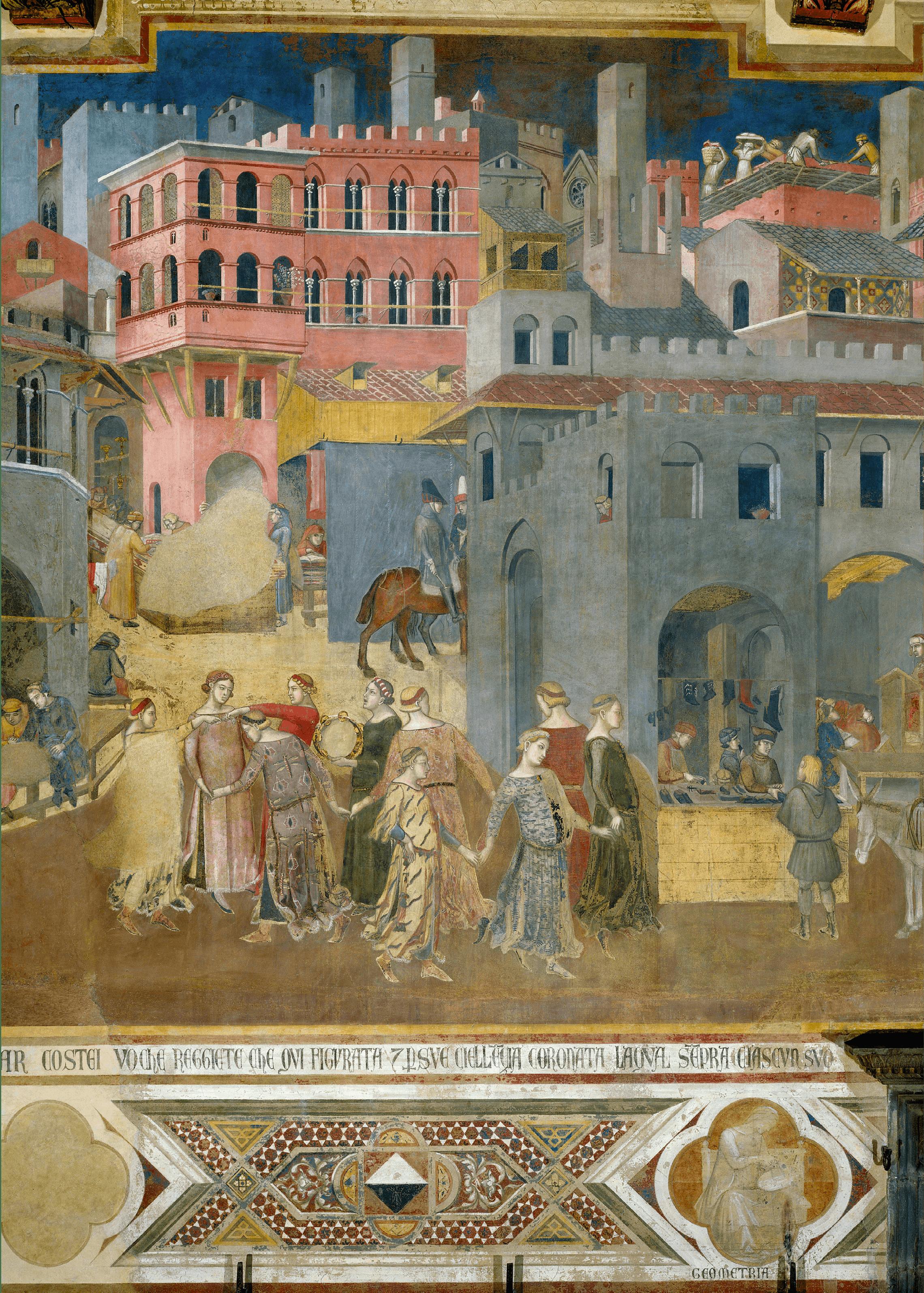 Ambrogio Lorenzetti, Allégorie du Bon Gouvernement (détail), 1338-1339, fresque, 200 × 3500 cm (Palazzo Pubblico de Sienne).