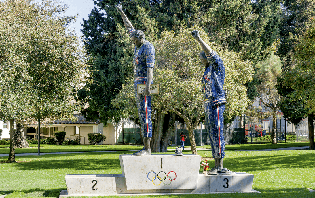 Victory Salute, statue of the 1968 Olympics Black Power Salute by Rigo 23, 2005