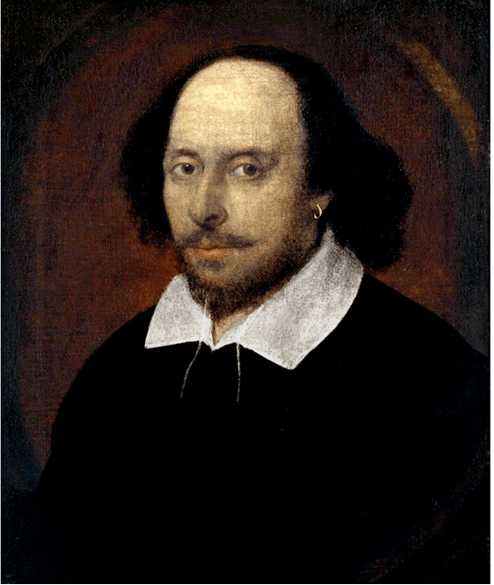 Chandos portrait: William Shakespeare, by John Taylor, 1610.