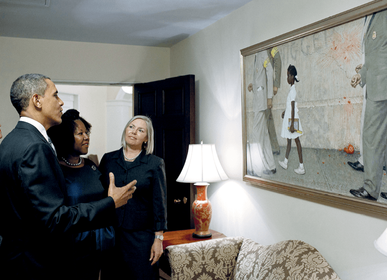 resident Barack Obama, Ruby Bridges, and representatives of the Norman Rockwell Museum view Rockwell's The Problem We All Live With hung in the White House, 2011