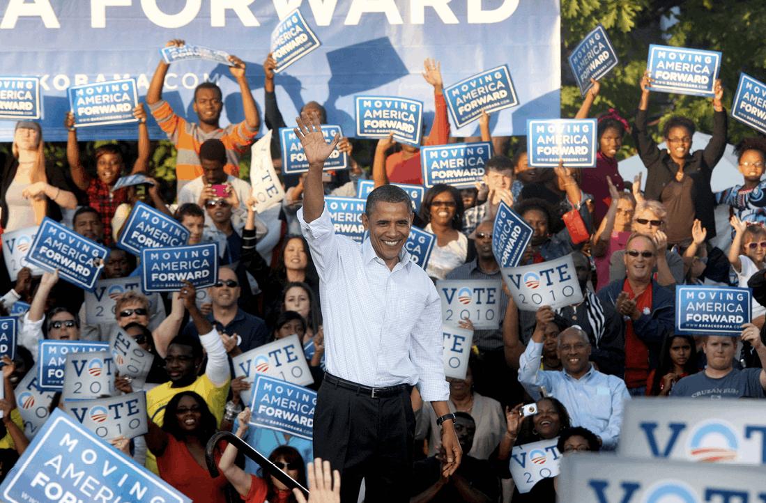 "President Barack Obama attends the ""Moving America Forward"" rally in Philadelphia, Pennsylvania, 2010"