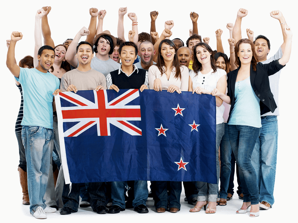 Group of people holding the New Zealand flag, 2009