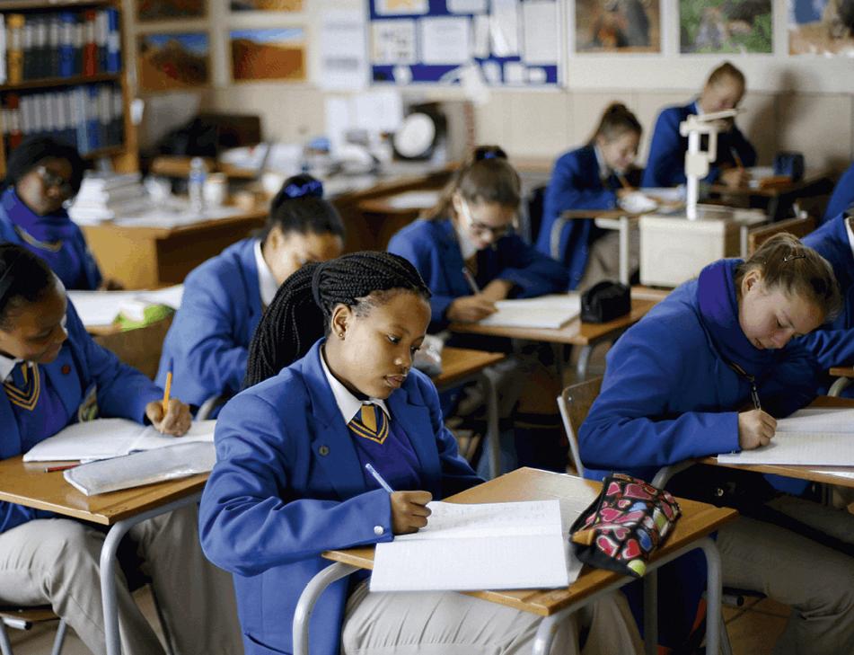 School children attend class at Waterstone College in Johannesburg, 2015