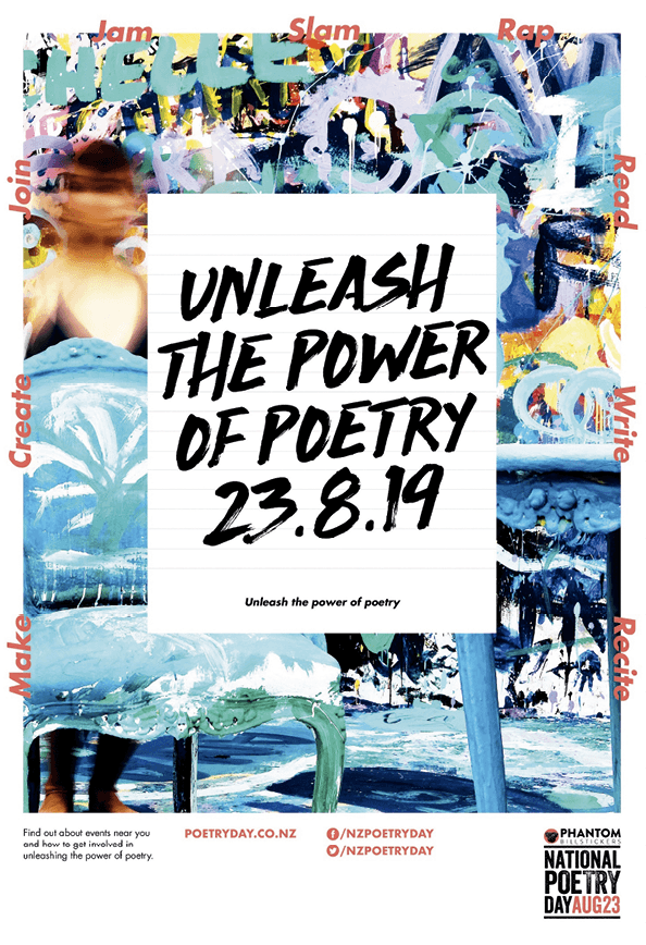 Poster for National Poetry Day, New Zealand, 2019.
