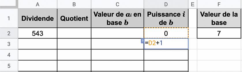 Numération : changement de base - Tableur